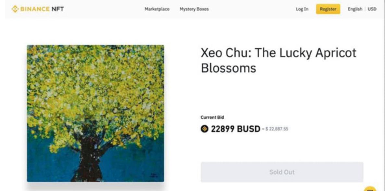 Bức tranh 'Hoa mai may mắn' được bán thành công trên sàn giao dịch điện tử Binance NFT