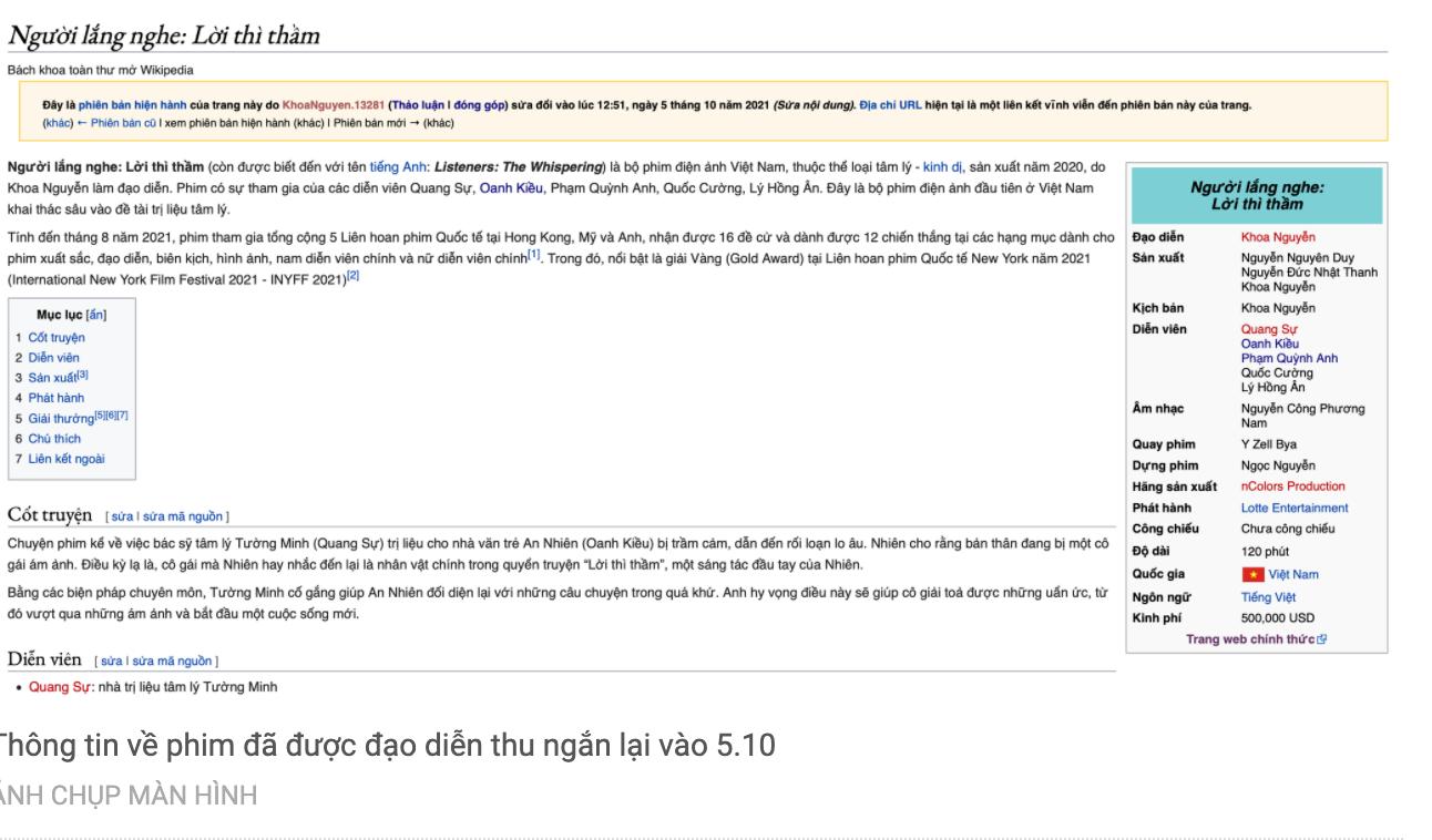 Thông tin về phim Người lắng nghe: Lời thì thầm trên trang wikipedia, đạo diễn khẳng định không có một số chi tiết trong bài báo của thành viên hội đồng duyệt phim Trần Việt Văn  ẢNH CHỤP MÀN HÌNH