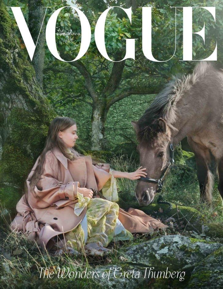 Greta Thunberg trên bìa tạp chí Vogue - Ảnh: CNN