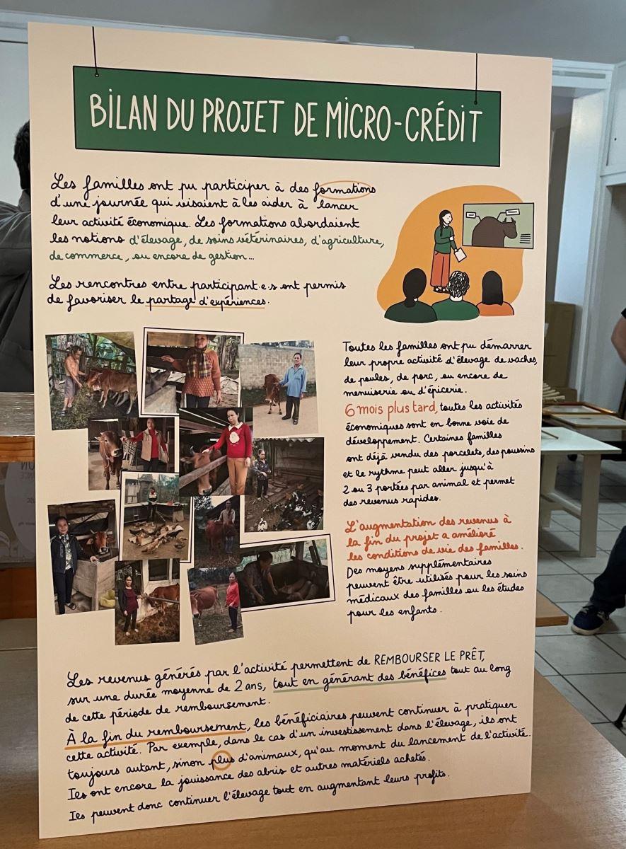 Họa sĩ Trâm Anh bên tranh đồ họa giới thiệu dự án tín dụng nhỏ giúp đỡ các gia đình nạn nhân da cam ở Việt Nam.