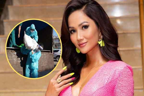 Ngạc nhiên khi thấy Hoa hậu H'Hen Niê vác hơn bao gạo 50kg đi từ thiện