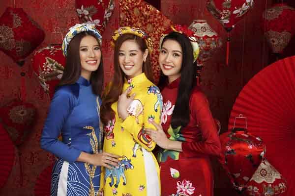 Hoa hậu Khánh Vân, Á hậu Kim Duyên và Á hậu Thúy Vân khoe sắc với Áo dài Tết