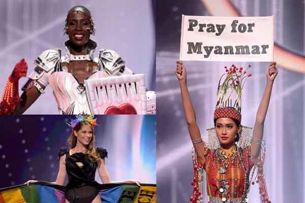 Miss Universe 2020: Thông điệp 'nóng' của hoa hậu Myanmar trong phần thi trang phục dân tộc