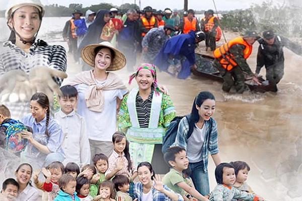 Đỗ Mỹ Linh, Tiểu Vy, Lương Thuỳ Linh trao quà cho đồng bào miền Trung