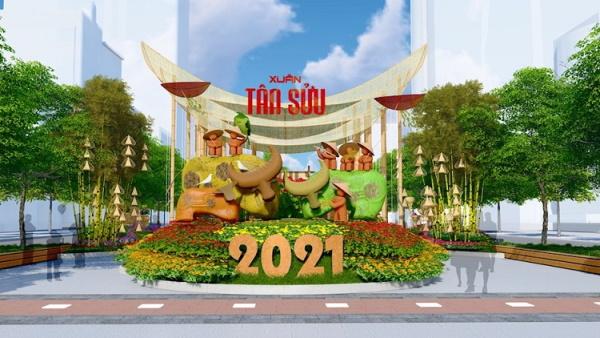 Ngắm mô hình linh vật của đường hoa Nguyễn Huệ 2021