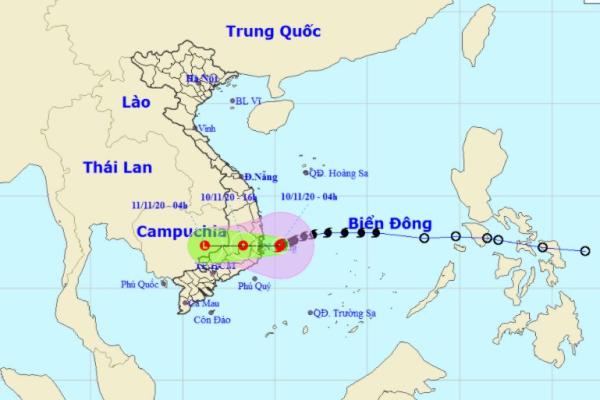 Bão số 12 giật cấp 10 áp sát các tỉnh Bình Định - Ninh Thuận, khu vực từ Thừa Thiên Huế đến Khánh Hòa có mưa rất to