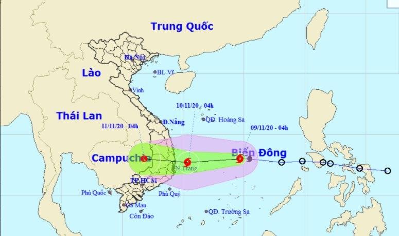 Bão số 12 giật cấp 10, nhắm thẳng Nam Trung Bộ, gây mưa rất to từ Quảng Trị đến Khánh Hòa
