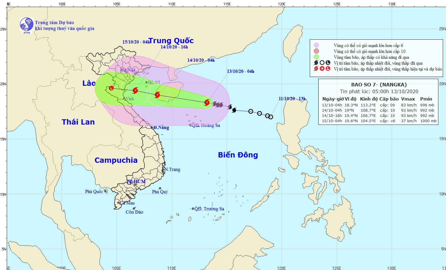 Bão số 7 giật cấp 11 đang hướng vào Nam Bắc Bộ và Bắc Trung Bộ