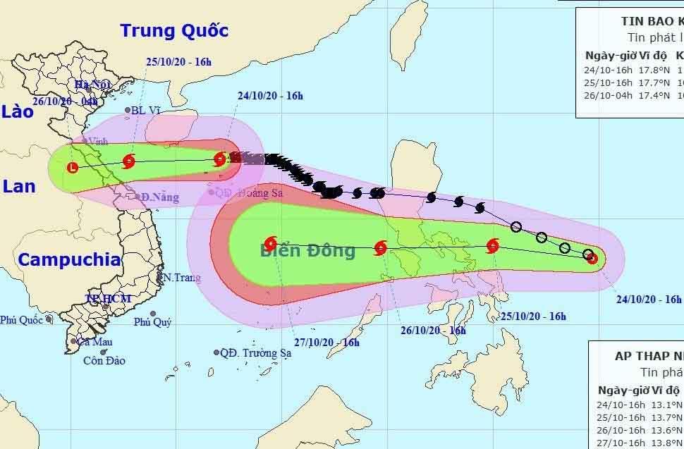 KHẨN: Bão chồng bão hướng vào miền Trung