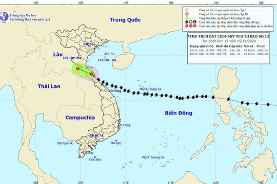 Bão số 13 đã suy yếu thành áp thấp nhiệt đới, cảnh báo mưa to và sạt lở