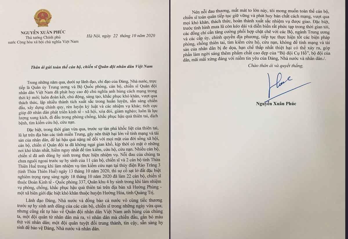 Thủ tướng gửi thư cho quân đội: Không để tính mạng của dân bị đe dọa