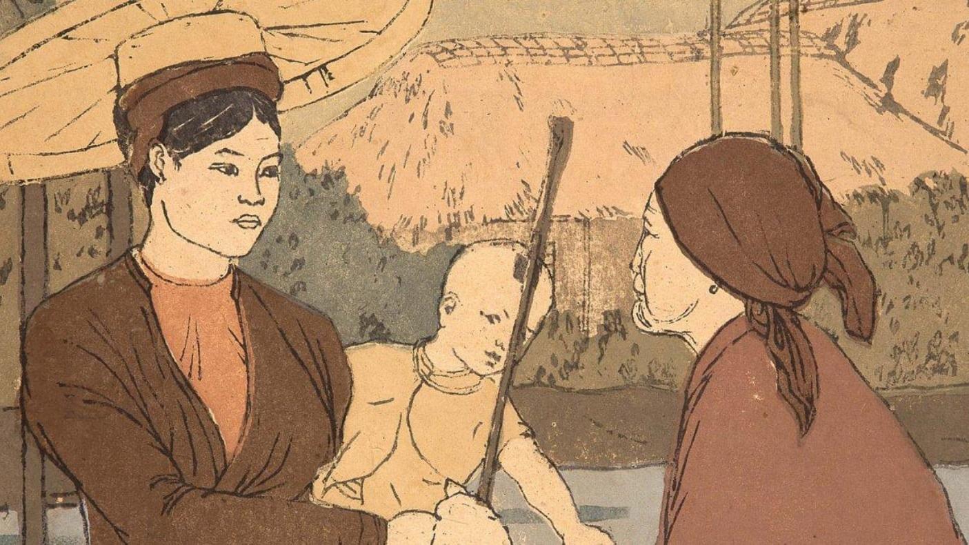 Bức tranh khắc gỗ quý hiếm của nhà văn Nhất Linh được đấu giá tại Pháp