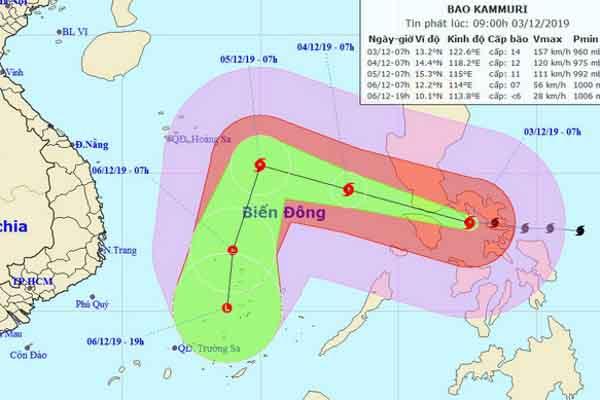Bão Kammuri với sức gió cấp 17 tiến vào Biển Đông