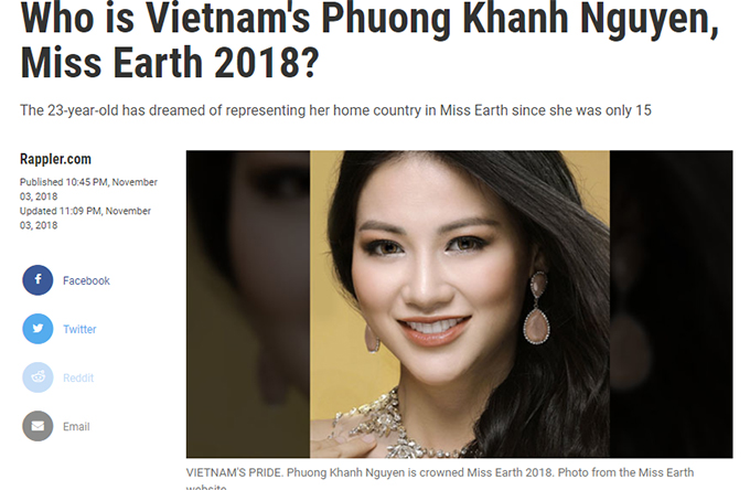 Tân Hoa hậu Trái đất Phương Khánh nhận được lời khen của khán giả quốc tế