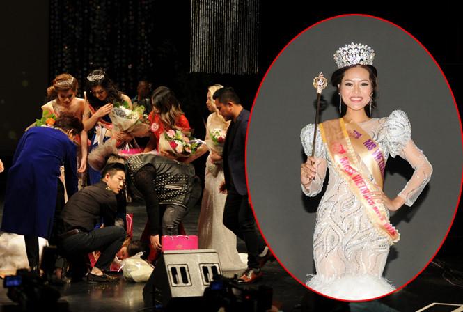 Tân Hoa hậu Việt Nam Thế giới ngất xỉu ngay lúc đăng quang