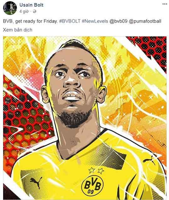 'Huyền thoại' điền kinh Usain Bolt chính thức trở thành cầu thủ của CLB Borussia Dortmund