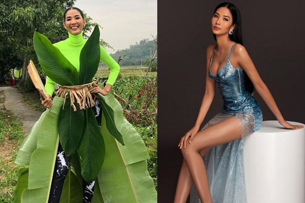 Fans 'chết cười' khi thấy Hoàng Thùy sáng tạo trang phục dân tộc...từ lá chuối
