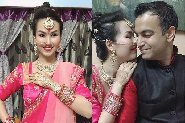 Võ Hạ Trâm diện đồ Ấn Độ, ăn mừng lễ hội cùng gia đình chồng