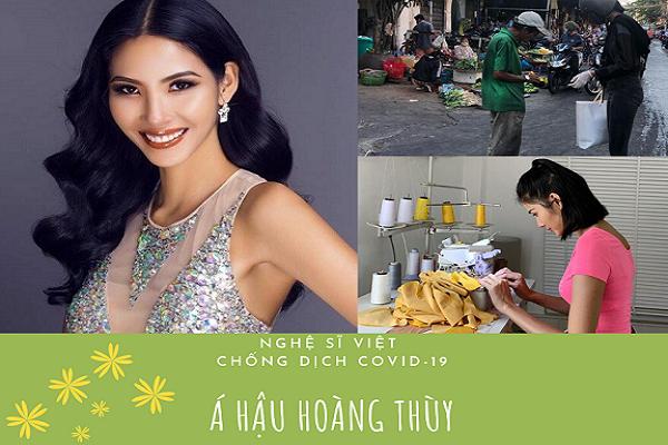 Nghệ sĩ Việt chống dịch Covid-19: Á hậu Hoàng Thùy may tặng người dân 700 chiếc khẩu trang