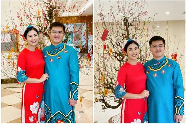 Hoa hậu Ngọc Hân và hôn phu tình tứ diện áo dài, tình từ trong ngày Tết