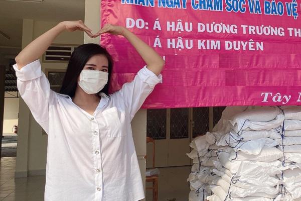 Nghệ sĩ Việt chống dịch Covid-19: Á hậu Kim Duyên tiếp tục ủng hộ 1 tấn gạo