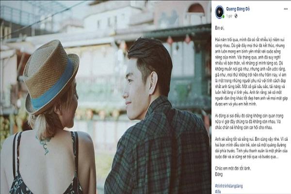 Sau chia tay, Quang Đăng nhắn nhủ Thái Trinh: 'Chúc em một đời tốt lành'