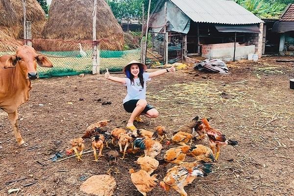 Hồ Bích Trâm về quê chăn bò, thả gà cùng gia đình