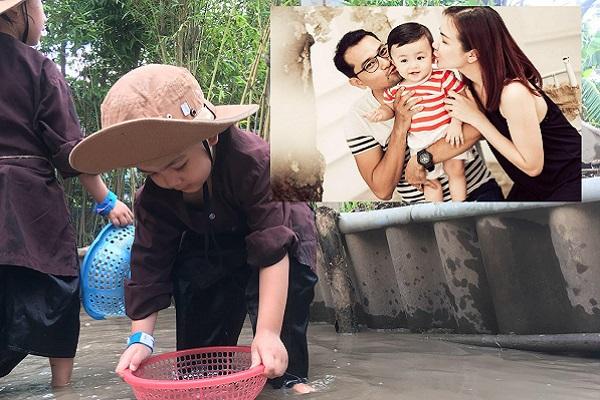 Con trai Huỳnh Đông - Ái Châu lặn lội bắt cá cực yêu