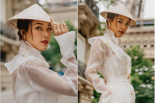 Hoàng Oanh đẹp rạng rỡ, đội nón lá Việt xuất hiện tại trời Tây