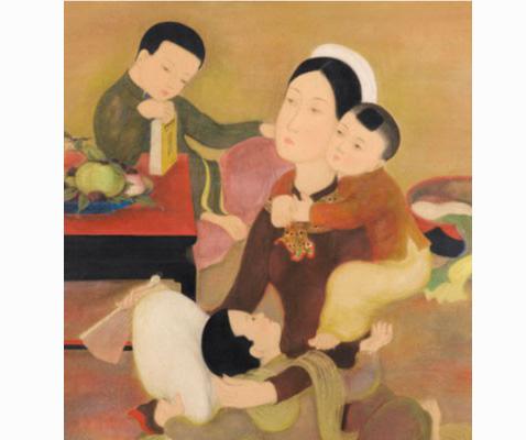 """Bức tranh """"Gia đình"""" của Lê Phổ bán với giá khoảng 17,5 tỷ đồng tại Hong Kong"""