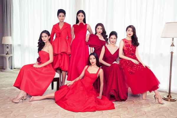 Hoa hậu H'Hen Niê tươi sắc đỏ cùng các người đẹp Hoàn vũ