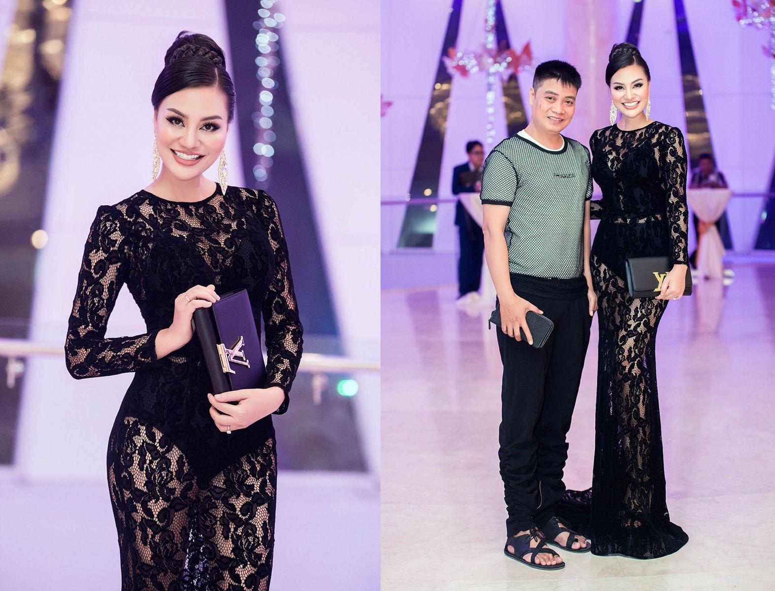 Nữ hoàng sắc đẹp Trần Huyền Nhung xuất hiện điệu đà với bộ đầm xuyên thấu quyến rũ