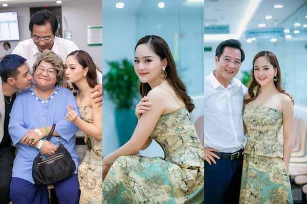 Trai trẻ nhìn đắm đuối khi bố chồng, bà nội đưa Lan Phương đi sự kiện