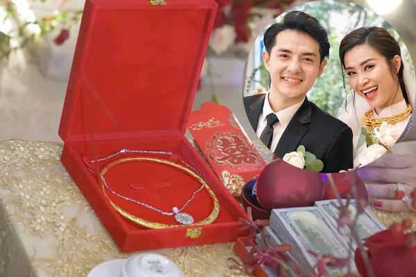 Sính lễ toàn vàng rồng, tiền đô nhà Ông Cao Thắng gửi bố mẹ Đông Nhi
