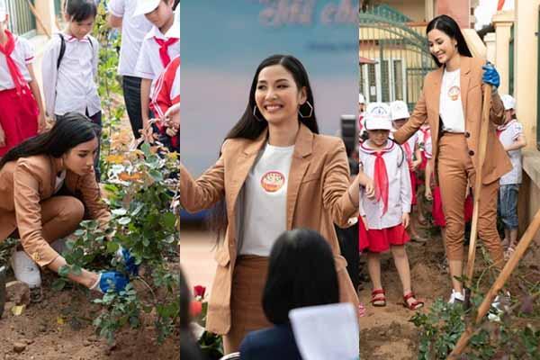 Hoàng Thùy cuốc đất trồng hoa hồng tặng học sinh