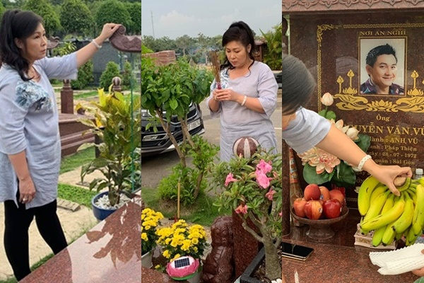 Nghệ sĩ Hồng Vân lòng ngổn ngang khi ghé thăm mộ cố nghệ sĩ Anh Vũ