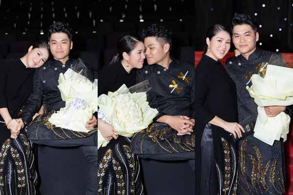 Trung Kiên ghé sát hôn Lê Phương ở sự kiện