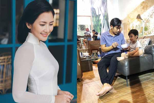 Thanh Bình đưa con trai đi làm chung khi Ngọc Lan vắng nhà