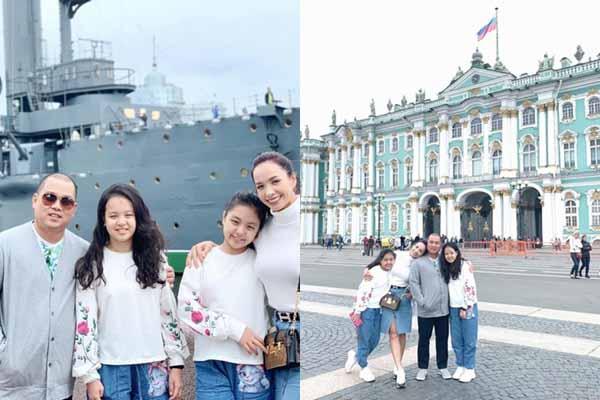 Thúy Hạnh, Minh Khang đưa hai công chúa nhỏ khám phá 'Cung điện mùa đông'