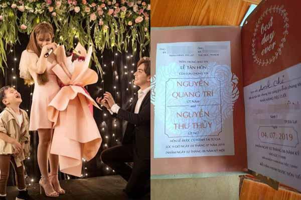 Bất ngờ lộ thiệp cưới vào tháng 7 của Thu Thủy và bạn trai