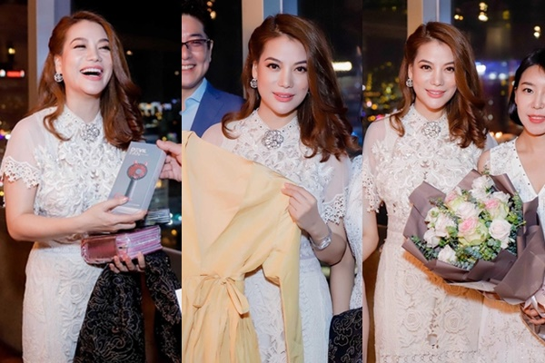 Trương Ngọc Ánh được người Hàn Quốc tặng hoa, váy hiệu