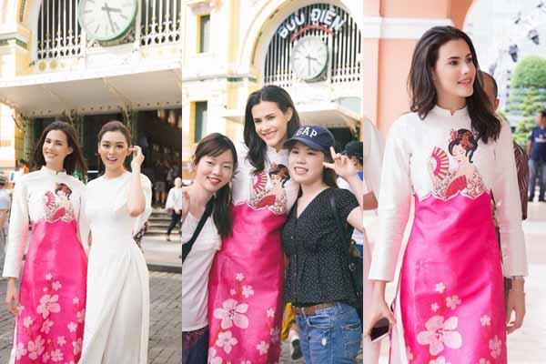 Á hậu Tường San đưa Hoa hậu Quốc tế thăm Sài Gòn