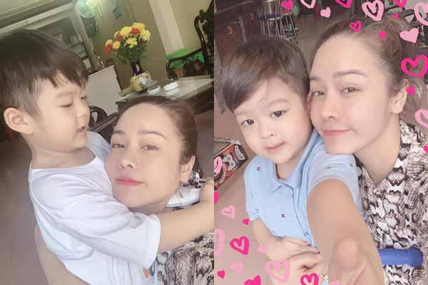 Con trai ôm chặt khi gặp lại Nhật Kim Anh dịp Trung thu 2019
