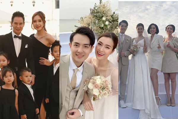 Thu Trang đằm thắm bên Tiến Luật, Lý Hải - Minh Hà đi tiệc cưới Đông Nhi cùng 4 con