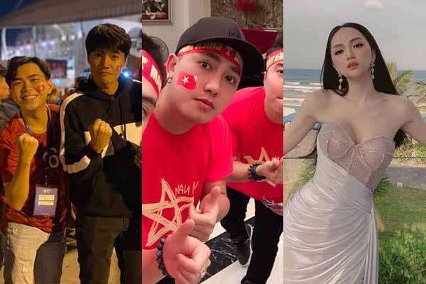 Quang Tuấn - Linh Phi đi cùng Minh Dự, Hương Giang - Châu Khải Phong sung sức cổ vũ tuyển Việt Nam