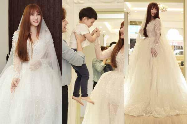 Thu Thủy thử váy cưới che bụng giữa nghi án cưới chạy bầu