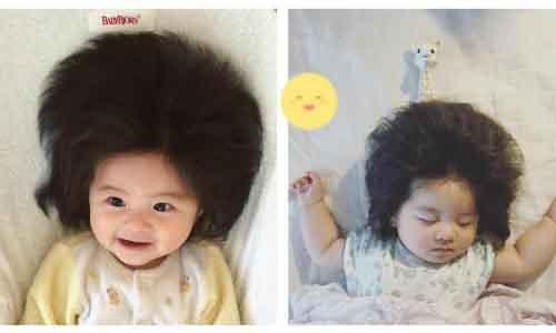 Chiêm ngưỡng mái tóc dày đen của bé 7 tháng Nhật Bản
