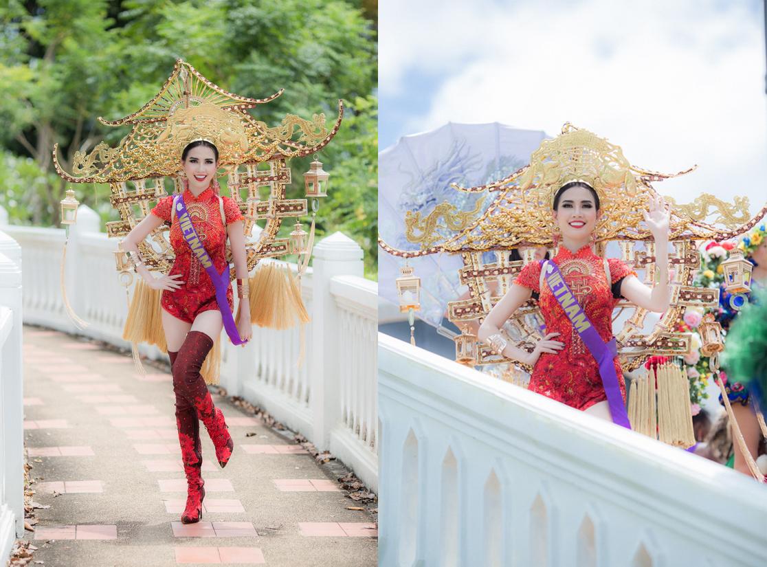 Trang phục 'chùa Một Cột' nổi bật tại Hoa hậu Đại sứ Du lịch Thế giới 2018