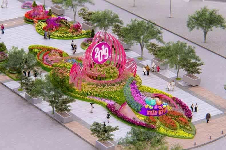 Quang cảnh đường hoa Tết Kỷ Hợi 2019 ở Sài Gòn