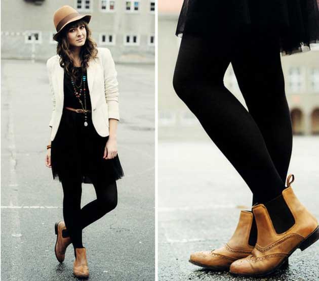 Phối váy và boots dạo phố mùa thu